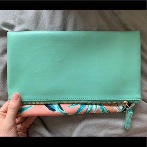 Rachel Pally teal and pink floral clutch